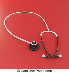 white stethoscope isolated on red background