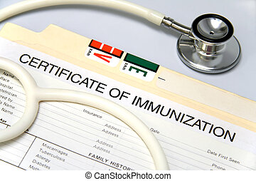 White stethoscope on a medical chart with a certificate of immunization.