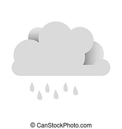 white sticker cloud with rain icon