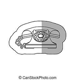 white sticker color telephone icon