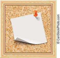White sticker on the cork notice board