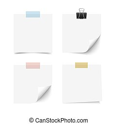 White sticky note paper sheets