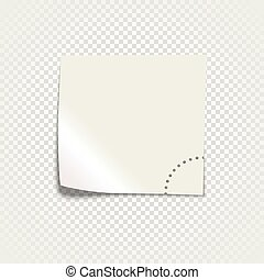 White sticky paper template isolated on transparent background