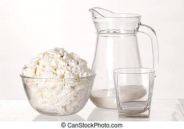 White still-life. Milk, milk and cheese