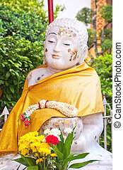 White Stone Buddha Statue at temple