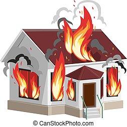 White stone house burns. Property insurance against fire....
