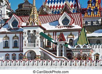 white stone house Izmailovo Kremlin in Moscow