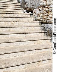 White stone stairway