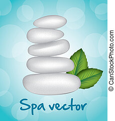 stones spa - white stones spa over blue background. vector...