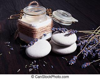 White stones stack, zen, spa, near dry lavender branches, like aromatherapy