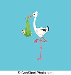 White stork carrying newborn baby, design template for baby shower banner, invitation, poster, greeting card vector Illustration