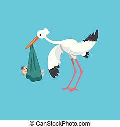 White stork carrying newborn baby, template for baby shower banner, invitation, poster, greeting card vector Illustration