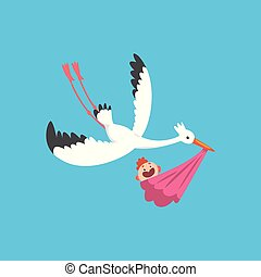 White stork delivering a newborn baby, flying bird carrying a bundle with baby girl, template for baby shower banner, invitation, poster, greeting card vector Illustration