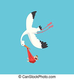 White stork delivering a newborn baby, flying bird carrying a bundle with crying baby, template for baby shower banner, invitation, poster, greeting card vector Illustration