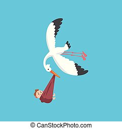 White stork delivering a newborn baby, flying bird carrying a bundle with smiling kid, template for baby shower banner, invitation, poster, greeting card vector Illustration
