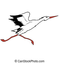 White Stork in flight. vector illustration.