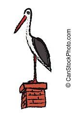 White storks on chimney, vector