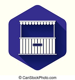 White Street stall with awning and wooden rack icon isolated with long shadow. Kiosk with wooden rack. Purple hexagon button. Vector Illustration