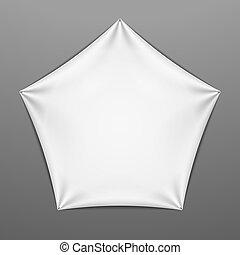 White stretched pentagonal shape