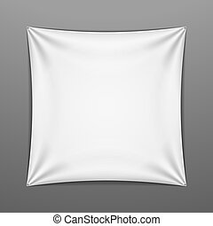 White stretched square shape with folds