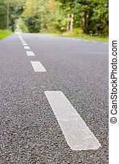 White stripes on road