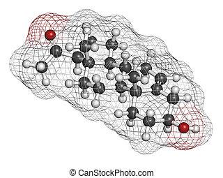 (white), structure., convencional, coding:, oxigênio, cor, molécula, (red)., átomos, químico, esferas, pregnenolone, (grey), neurosteroid, representado, carbono, hidrogênio, prohormone