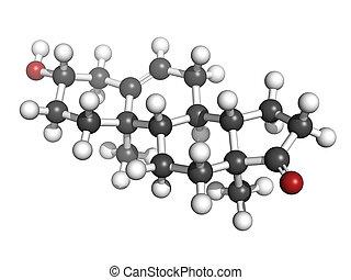 (white), structure., convencional, coding:, oxigênio, esteróide, cor, (dhea, dehydroepiandrosterone, átomos, químico, esferas, (red), (grey), molécula, representado, carbono, hidrogênio, prasterone)