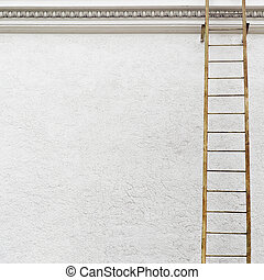 White stucco wall with metal ladder