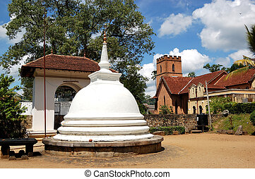 White Stupa at the Temple of the Lord Buddha Tooth Relic....