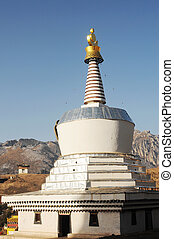 White stupa in a Tibetan lamasery