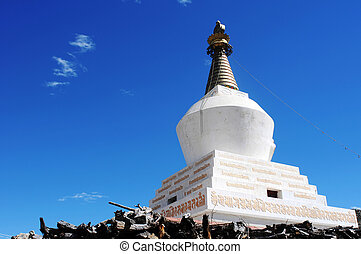 White stupa in Tibet - Historic white stupa in Tibet,...