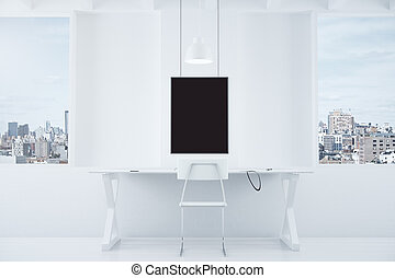 White style interior with desk and blank black picture frame, mock up