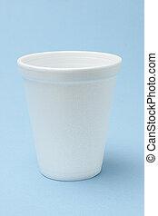White Styrofoam cup on seamless background