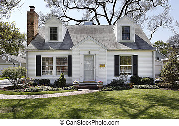 White home in suburbs with brick sidewalk