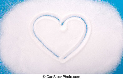 White sugar background, heart