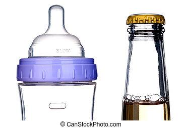 white:, suivant, bouteille bière, bébé, une