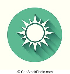 White Sun icon isolated with long shadow. Green circle button. Vector Illustration