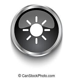 White Sun symbol on black glossy web button