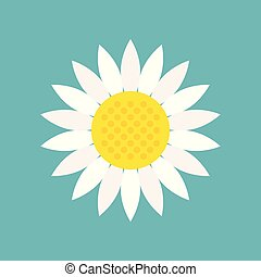 White sunflower icon isolated on blue sky background vector illustration