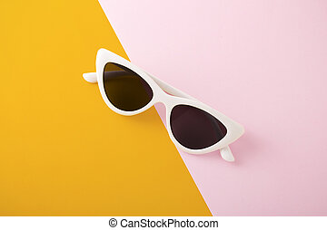 White sunglasses on two tone background