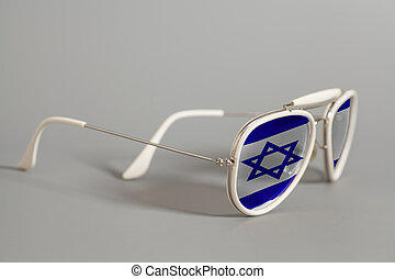 White Sunglasses with Flag of Israel