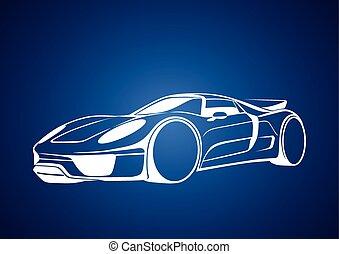 White super auto over blue