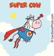 White Super Hero Cow Cartoon Mascot Character Flying