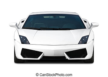 White supercar. Front view.