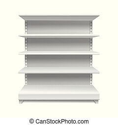 White supermarket shelves. Retail rack shop shelving blank shelves empty showcase store bookcase isolated 3d mockup