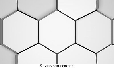 White surface broken into cells. CGI abstract transition, background.