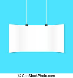 white surround hanging poster on blue background