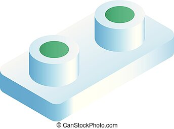 White sushi roll on stand icon, isometric style