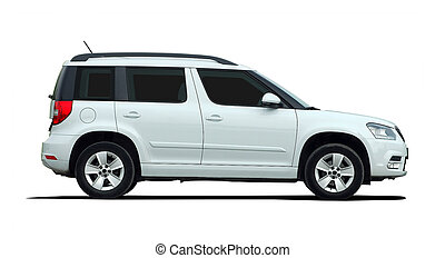white SUV side view