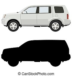 White SUV on a white background with a silhouette